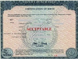 NYC birth certificate short form acceptable for Apostille