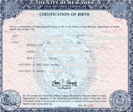 Nyc Birth Certificates For Foreign Use