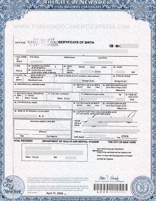 New york birth certificate long form for Apostille procedure