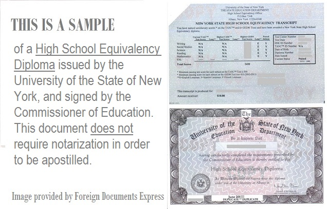 high school equivalency diploma apostille