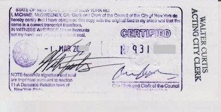 Marriage certificate NYC certified acceptable for apostille