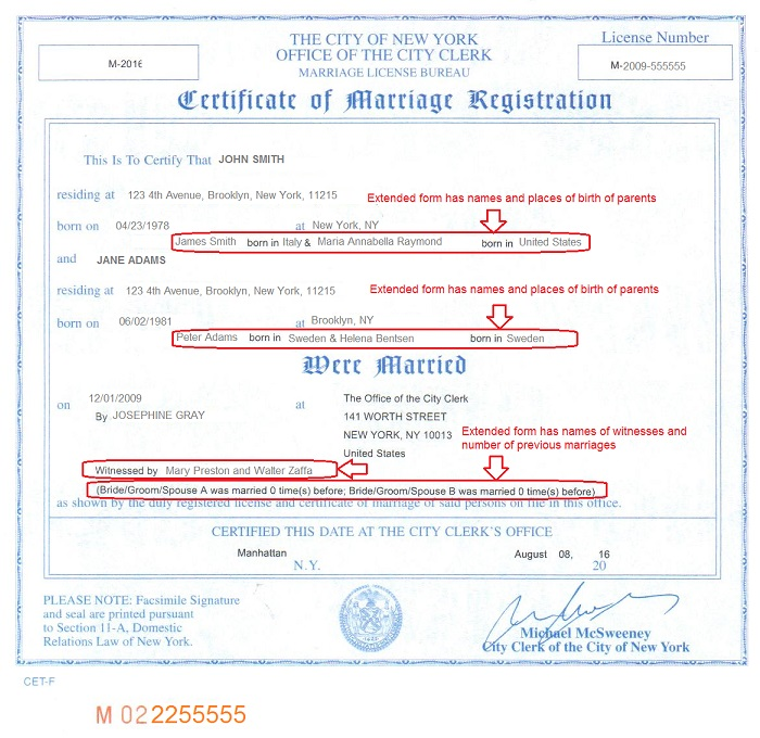 new york marriage certificates for foreign use