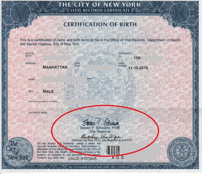 NYC birth certificate short Gretchen Van Wye
