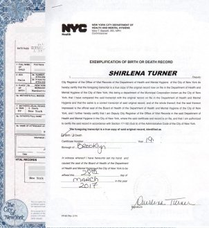 birth certificate exemplified new york for apostille