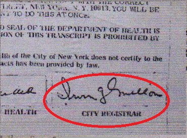 birth certificate new york city mellon signature