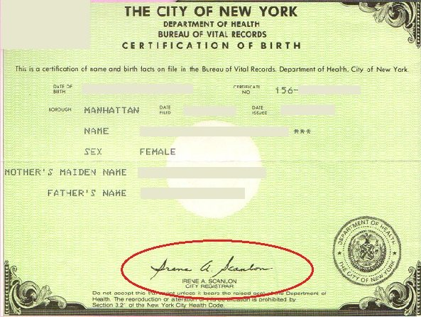 Short form birth certificates signed by Registrar Irene A. Scanlon