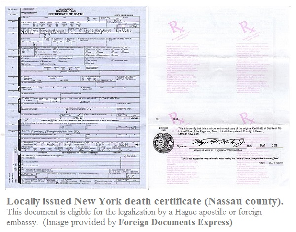 Legalization of a NYS death certificate (issued in Nassau county ...
